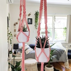 Macrame Plant Hangers - Coral - Small, Large or Duo | Macrame Pot Holder