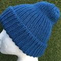 Mens or ladies blue merino beanie
