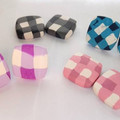 Square Gingham style polymer clay statement studs