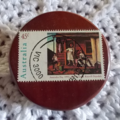 Brooch handcrafted from reclaimed hardwood and Australian postage stamp. ON SALE