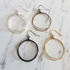 Big wire hoop earrings , Gold Silver Brown Black , Simple Boho Modern jewelry