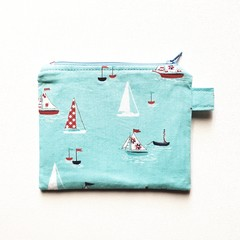 Blue sail boats coin purse pouch