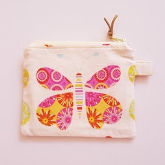 Pink and green butterflies coin purse
