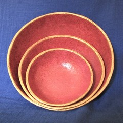 Three Red and Gold Hand Made Decorator Bowls
