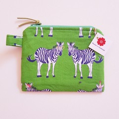 Party Zebras green coin pouch