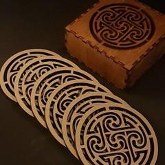 Coaster set Laser cut set of 6 coaster set in designer box