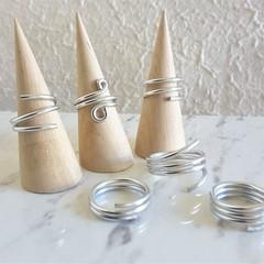 Minimalist spiral silver wire ring , Modern Statement ring