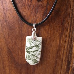 Green/White Heritage Transferware on Sterling Silver