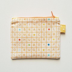 Orange Scrabble print coin purse pouch