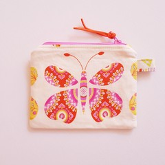 Pink and orange butterflies coin purse