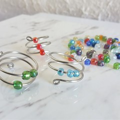 Glass Seed Bead Statement Spiral wire ring , Red Blue Green Clear Orange Purple