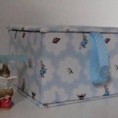 Baby Keepsake Fabric Box - Peter Rabbit (blue) - Children's Memory Box