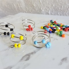 Colourful Bead Silver Spiral ring , Red Blue Green White Yellow Orange Black
