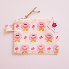 Pink flower small coin purse pouch