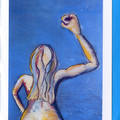 4 CONTEMPORARY ART CARDS Printed cards featuring painting by Selena Smith