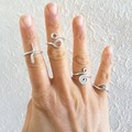 Statement silver wire ring , Phalanx Geometric rings Friendship