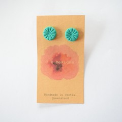 Green polymer clay stud earrings