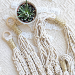 Macrame Plant Hangers - Gold and Natural | Macrame Pot Holder