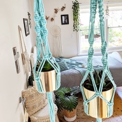 Macrame Plant Hangers - Mint - Small,Large or Duo | Macrame Pot Holder