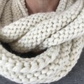 Knitted cream vegan scarf, cream cowl creamchunky scarf, ladies scarf wool