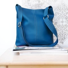 PU vegan Leather crossbody handbag in Dark Teal