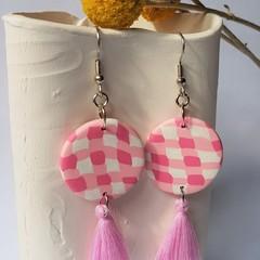 Pink Gingham Dangle Statement Earrings