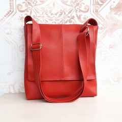 PU vegan Leather crossbody handbag in Cherry Red