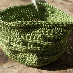 Crocheted bowl made from waxed cotton, green, textured
