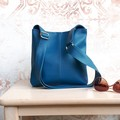PU vegan Leather crossbody handbag in Dark Teal