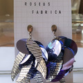 sequin statement earrings, silver & black striped leaves, purple, iridescent
