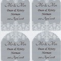 PERSONALISED GREY AND WHITE LACE  89 X 120.7MM WINE BOTTLE LABELS