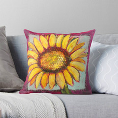 Sunflower Throw Cushion - Bright Floral Lounge Pillow - Designed in Australia