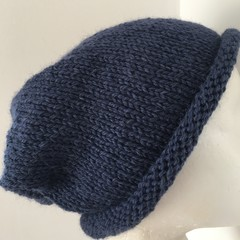 Knitted blue slouchy beanie mens or ladies navy slouch beanie hat