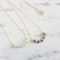 Glass seed bead Silver chain anxiety necklace , Delicate Dainty Beaded Necklace