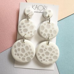 Polymer clay earrings, statement earrings in white translucent