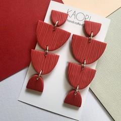 Polymer clay earrings, statement earrings in brick red