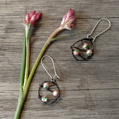 Wire and Pink Bead Earrings