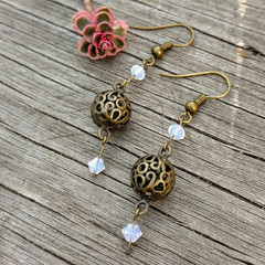Crystal and Ornate Brass Sphere Earrings
