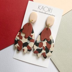Polymer clay earrings, statement earrings in brick red