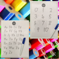 Double sided alphabet/numbers (advanced) card and marker set