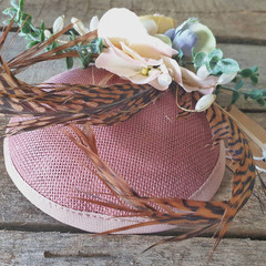 Fascinator Hat Pink / Floral Fascinator / Pheasant Tail Fascinator / Pink Flower