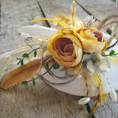 Fascinator / Natural Feather Fascinator / White and Yellow Fascinator / Yellow F