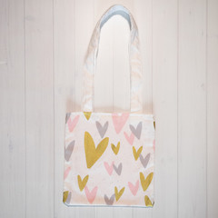 Pretty Blush and Gold Hearts Eco Friendly Sustainable Tote Bag