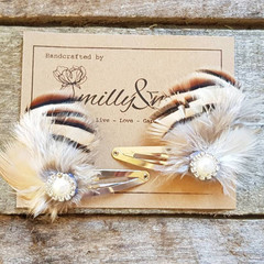 Natural Feather Hair clips/Kids Hairclips / Girls Hair clips / Hair Jewellery /