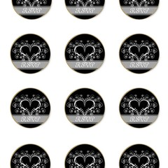 BLACK AND WHITE RSVP ROUND 60MM STICKERS
