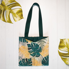 Monstera Green and Gold Eco Friendly Sustainable Tote Bag
