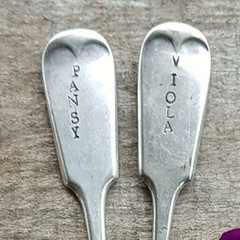 Garden Markers Viola and Pansy / Vintage Fork Markers / Garden Art / Pot Plant M