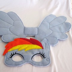 RAINBOW DASH-Childs Pretend Play Face Mask & Large Wing - (My Little Pony)