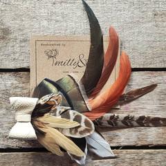 Feather Hair Clip / Bridesmaids Hair / Boho Hair / Fascinator Brown / Feathers f