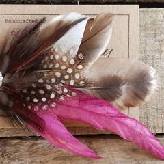 Feather Hair Clip in Brown and Magenta / Fascinator Brown / Fascinator Burgundy